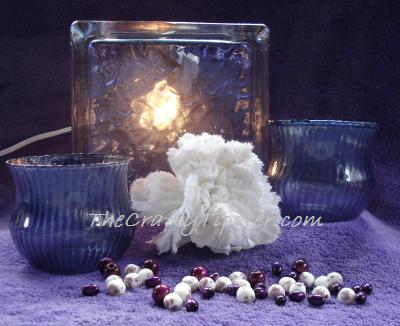 lit purple glazed glass block project