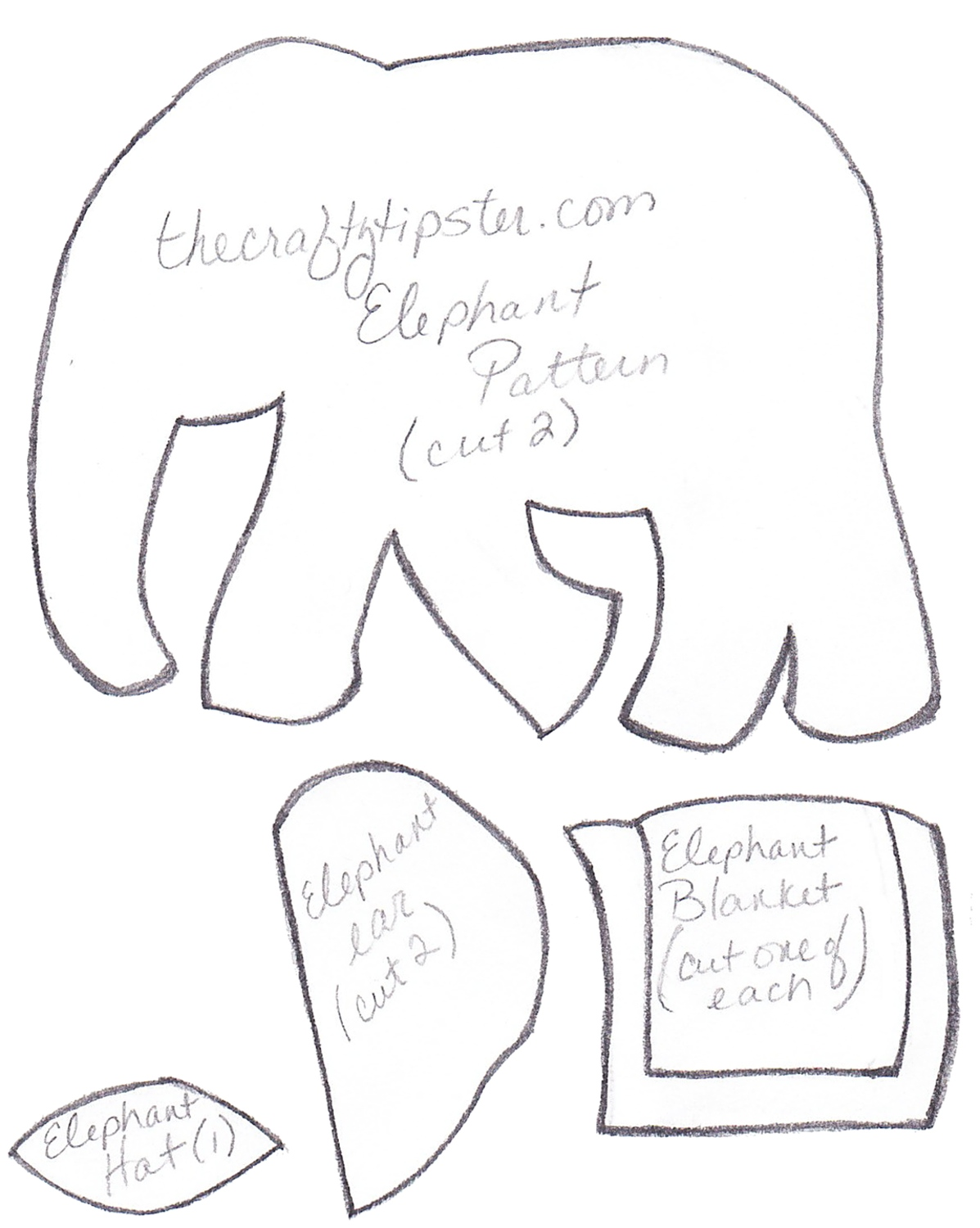 Felt Elephant Pattern The Crafty Tipster