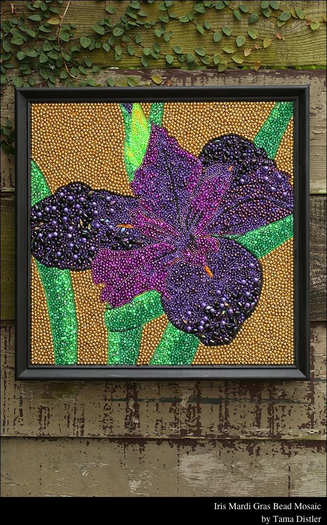 Iris Mardi Gras Bead Mosaic by Tama Distler